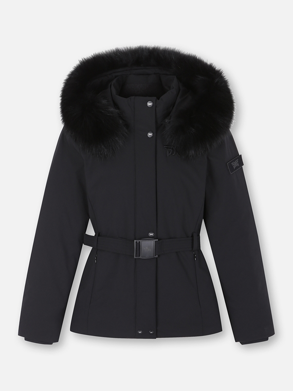 WOMENS WINTER BELTED FUR DOWN JACKET