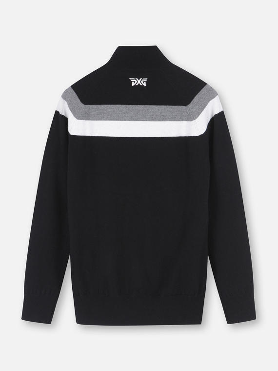 BACK STRIPE FULL ZIP SWEATER