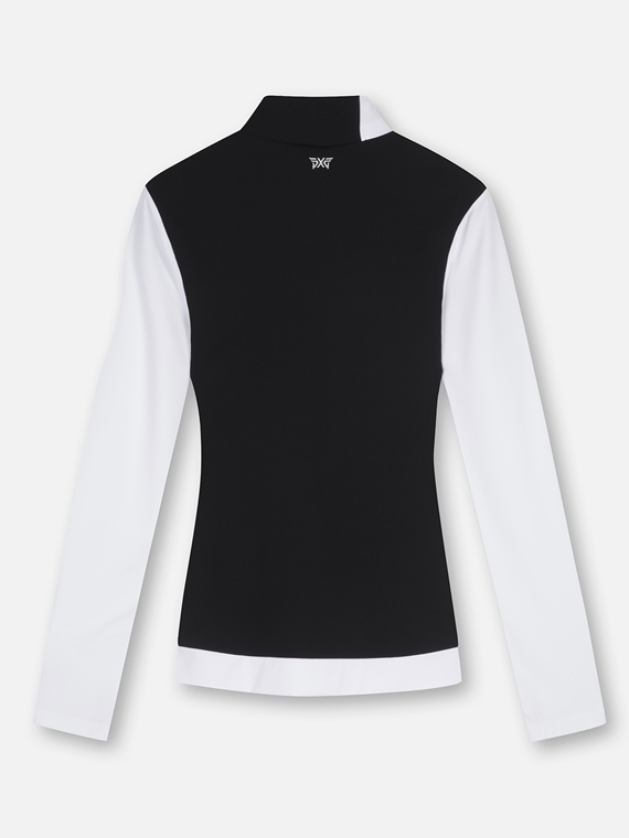 WOMEN COLOR BLOCKED L-NECK LONG SLEEVE