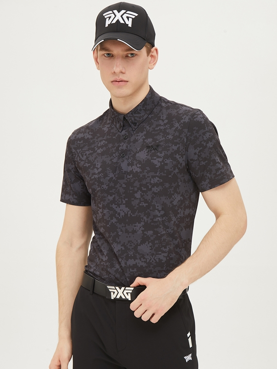 CAMO PATTERN COLLAR SHORT SLEEVE
