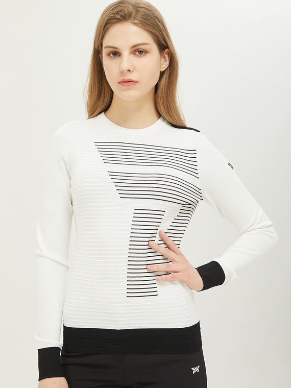 WOMEN BIG LOGO ROUND NECK SWEATER