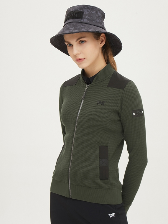 WOMEN SHOULDER PATCH KNIT JACKET