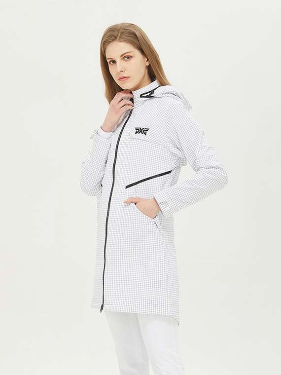 WOMEN SAFARI GRID RAIN JACKET